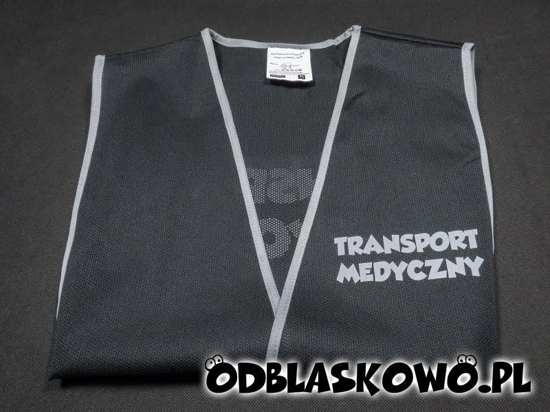 Czarna kamizelka odblaskowa z transportem medycznym