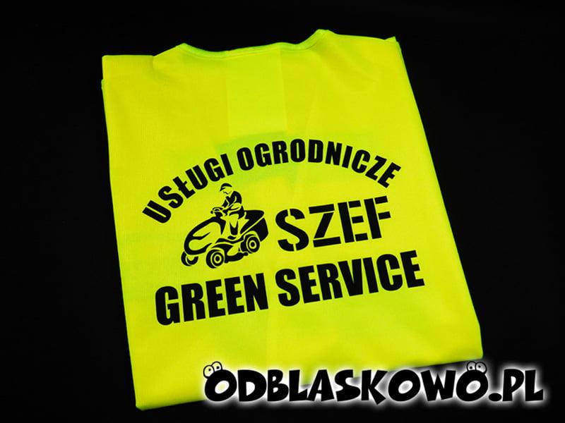 Czarny flex z napisem usługi ogrodnicze szef green service na kamizelce odblaskowej