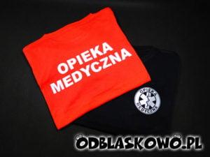 Czarna lub czerwona koszulka odblaskowa nadruk opieka medyczna