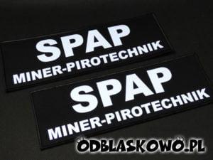 Czarna naszywka odblaskowa SPAP miner pirotechnik