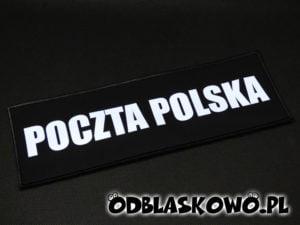 Naszywka odblaskowa czarne tło napis poczta polska