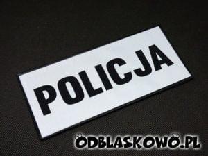 Naszywka odblaskowa policja biała