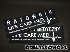 Odblaskowe czarne naszywki ratownik life care med