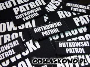 Naszywka czarna odblaskowa napis rutkowski patrol