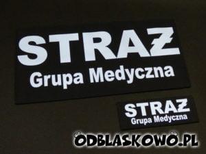 Naszywka odblaskowa czarne tło z napisem straż grupa medyczna