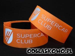 Opaska odblaskowa w kolorze z napisem supercar club