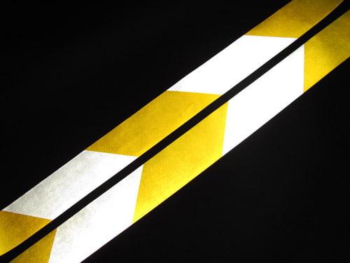 Biało żółta taśma odblaskowa 10cm