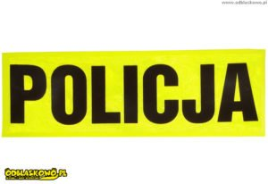 Czarny flex policja na naszywce odblaskowej w kolorze żółtym