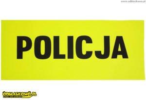 Czarny flex policja na odblaskowej naszywce żółtej