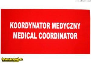 Czerwona odblaskowa naszywka koordynator medyczny medical coordinator