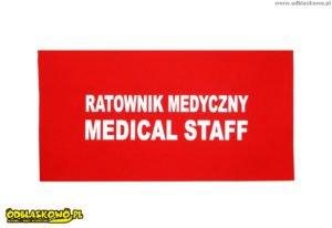 Czerwona odblaskowa naszywka ratownik medyczny medical staff
