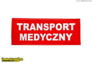 Czerwony emblemat odblask transport medyczny