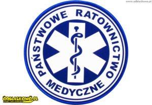 Emblemat kółko niebieskie państwowe ratownictwo medyczne odblaskowe