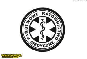 Emblemat napis w kółku odblaskowym państwowe ratownictwo medyczne