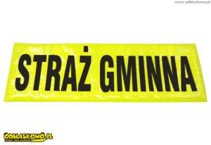 Emblemat odblask straż gminna czarny flex na żółtym tle