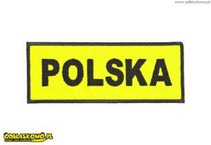 Emblemat odblask żółty z napisem polska