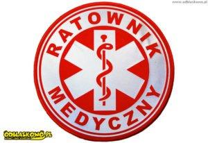 Emblemat okrągły czerwony ratownik medyczny