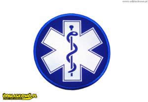 Emblemat w kółku niebieska naszywka eskulap odblask