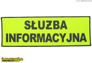 Emblematy odblaskowe na żółtym tle z napisem służba informacyjna