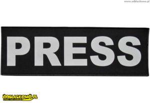 Emblematy odblaskowe z napisem press