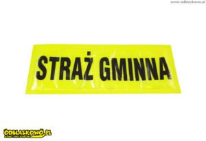 Emblematy odblaskowe żółte tło napis straż gminna