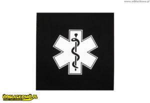Eskulap na emblemacie czarnym odblaskowym