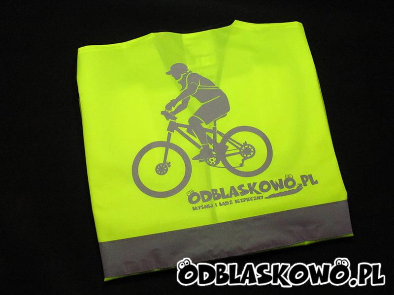 Kamizelka odblaskowa żółta z nadrukiem rowerzysty