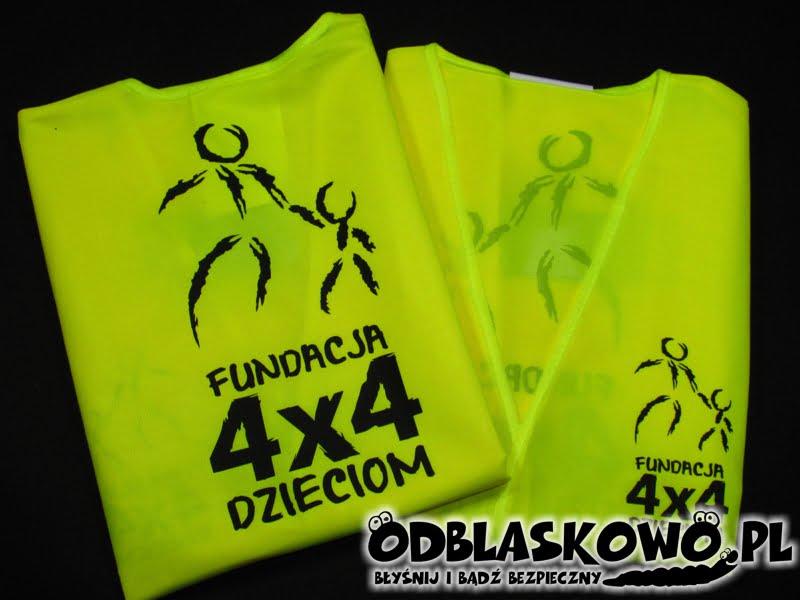 Nadruk fundacja 4x4 dzieciom na żółtej odblaskowej kamizelce