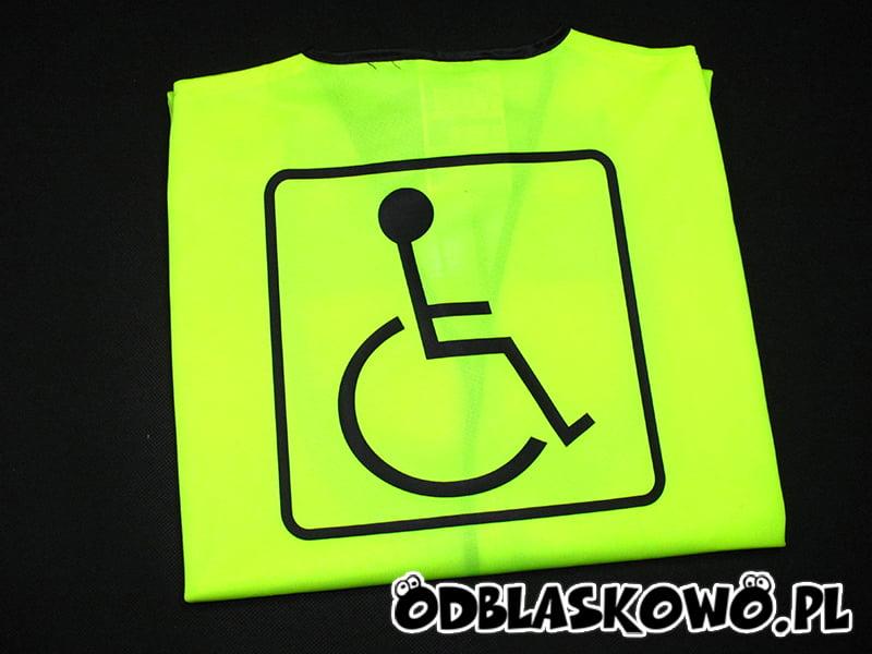 Odblaskowa kamizelka z nadrukiem inwalida na żółtym tle