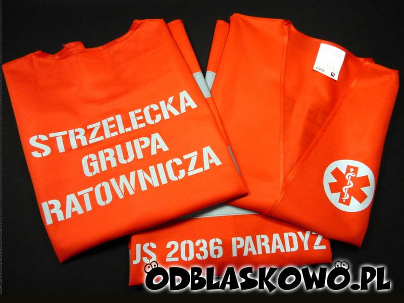 Pomarańczowa kamizelka ostrzegawcza strzelecka grupa ratownicza