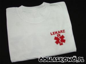 koszulka biała lekarz czerwony nadruk
