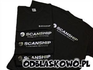 Czarna koszulka odblaskowa z nadrukiem scanship