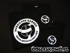 Koszulka z nadrukiem grupa motocyklowa Łódź na czarnej koszulce