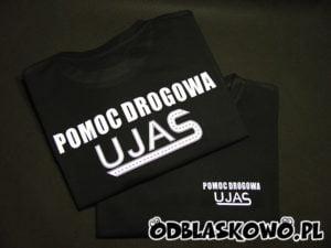 Czarna koszulka z nadrukiem odblaskowa ujas