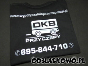Nadruk odblaskowy reklama czarna koszulka