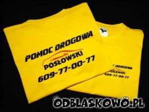 Nadruk pomoc drogowa na żółtej koszulce