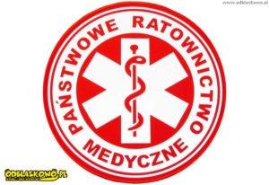 Napis państwowe ratownictwo medyczne czerwony emblemat odblaskowy