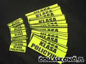 Naszywka odblaskowa na żółtym tle napis klasa policyjna