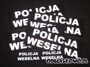 Naszywka odblaskowa policja weselna czarne tło