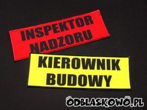 Naszywka kierownik budowy czerwone/żółte tło