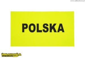 Naszywka odblask żółta z napisem Polska