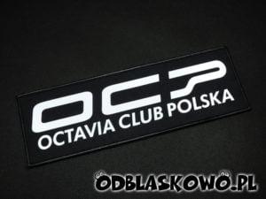Napis octavia club Polska naszywka odblaskowa czarna