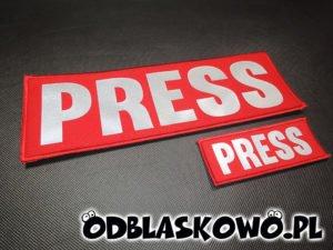 Naszywka odblaskowa czerwona z napisem press
