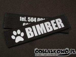 Odblaskowa czarna naszywka flex imię psa bimber i telefon