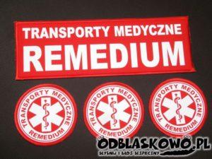 Naszywki czerwone odblaskowe flex remedium transporty