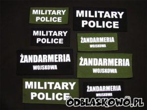 Naszywka odblaskowa military police na różnym tle