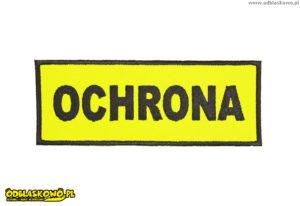 Naszywka odblaskowa napis ochrona żółte tło