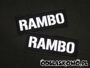 Naszywka odblaskowa napis rambo na czarnym