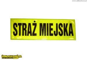 Naszywka odblaskowa z napisem straż miejska na żółtym tle
