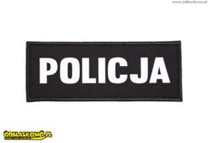 naszywki odblaskowe czarne tlo z napisem policja